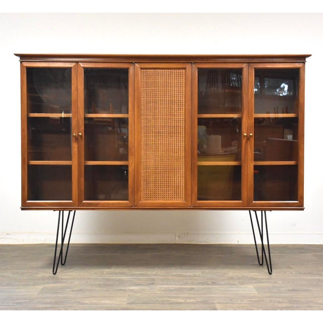 Walnut and Cane Mid Century Bookcase For Sale - Image 11 of 11