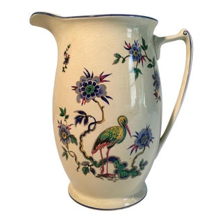 Antique Cottage Bird Motif Pitcher