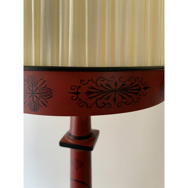 Chinese Painted Red Metal Table Lamps - a Pair For Sale In Miami - Image 6 of 13