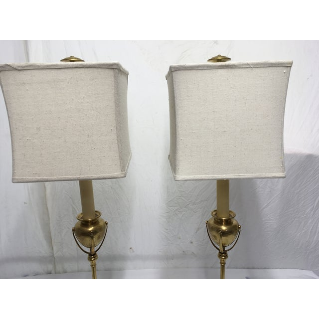 Gold Chapman Brass Modernist Style Lamps, a Pair For Sale - Image 8 of 10