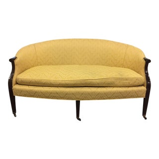 Antique Federal Flame-Stitch Settee-Brass Casters For Sale