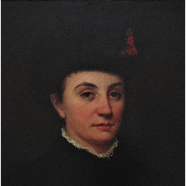 Portraiture 19th Century Antique Portrait of Victorian Woman Oil on Board Painting For Sale - Image 3 of 6