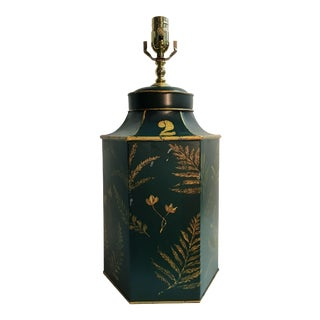English Export Dark Green Tea Canister Lamp For Sale