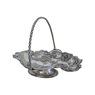 Antique Hand-Decorated Silverplate Cake Basket For Sale