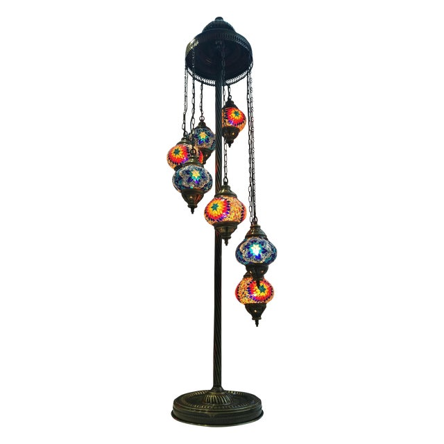 Brass Plated 7 Globe Tile Art Lamp - Image 1 of 6