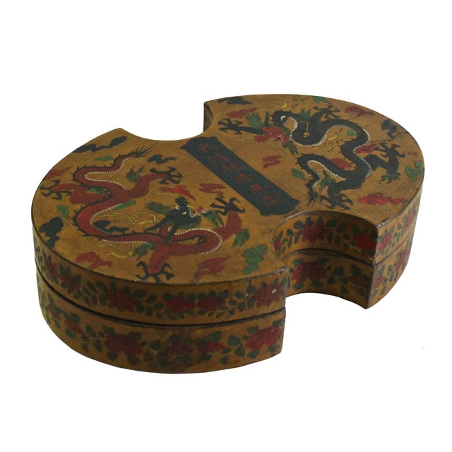 2010s Chinese Distressed Yellow Lacquer Oval Dragons Graphic Box For Sale - Image 5 of 7