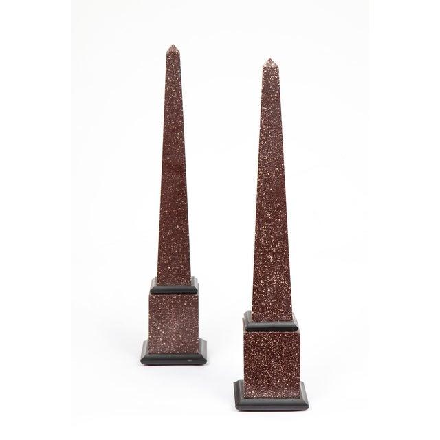 Grand Tour Fine Pair of Italian Grand Tour Egyptian Porphyry Obelisks For Sale - Image 3 of 13