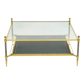 1970s French 2-Tier Maison Jansen Brass Leather Glass Coffee Table For Sale