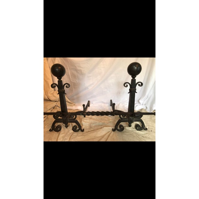 Gothic Bradley and Hubbard Wrought Iron Andirons - a Pair For Sale - Image 3 of 10