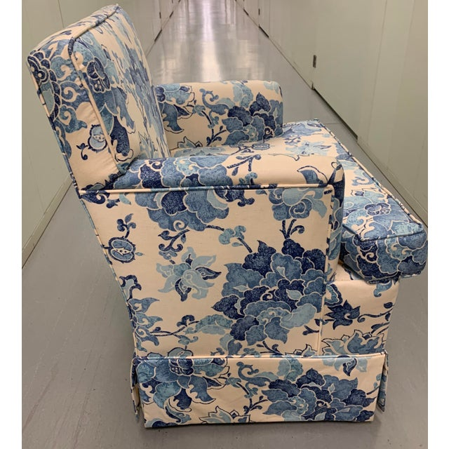1990s Blue & Off White Upholstered Armchair For Sale - Image 5 of 8