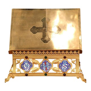19th Century French Brass & Cloisonne Medallions Bible Holder For Sale