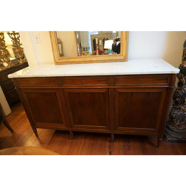 19th Century Louis XVI Walnut Enfilade With Marble Top For Sale - Image 12 of 12