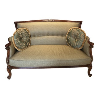 Italian Green Love Seat For Sale