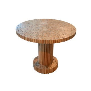 Contemporary Handcrafted Table of Wood Cut Circles With Pedestal Base