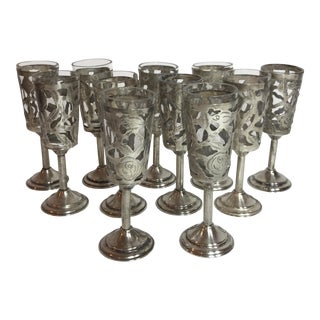 Mexican Sterling Overlay Cordials - Set of 12 For Sale