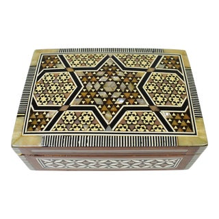 Vintage Handmade Moroccan Marquetry Inlaid Mother of Pearl Jewelry Trinket Box For Sale