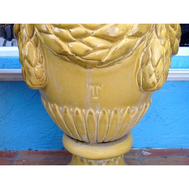 Pair of Massive Glazed Terracotta Garden Urns For Sale - Image 10 of 13