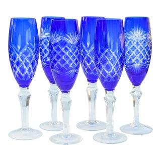 Vintage Blue Cut-Crystal Flutes, S/6 For Sale