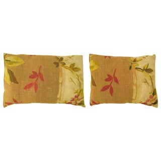 """Antique Art Deco French Aubusson Carpet Pillow With Floral Gold Striped Velvet Backing, Size 26"""" X 20"""" / 24"""" X 18"""" - a Pair For Sale"""