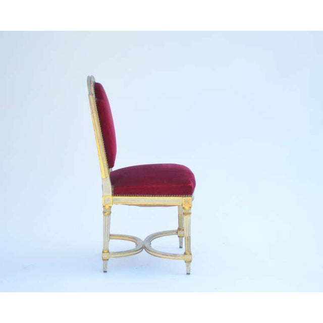 1940s Vintage Crimson Velvet Chairs in the Style of Maison Jansen- Set of 5 For Sale - Image 5 of 12
