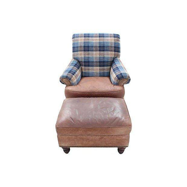 Animal Skin Lexington Furniture Leather Lounge Chair & Ottoman With Lee Jofa's Clan Chenille For Sale - Image 7 of 7