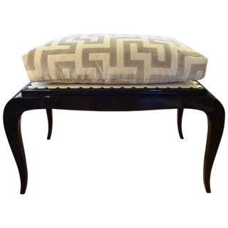1930s French Art Deco Black Lacquered Bench