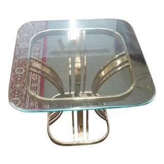 1990s Milo Baughman Style Mid-Century Modern Brass Glass End Table For Sale