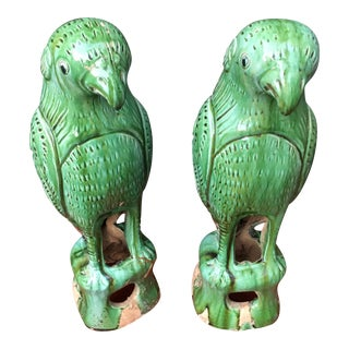 Vibrant Chinese Majolica Parrots, a Pair For Sale