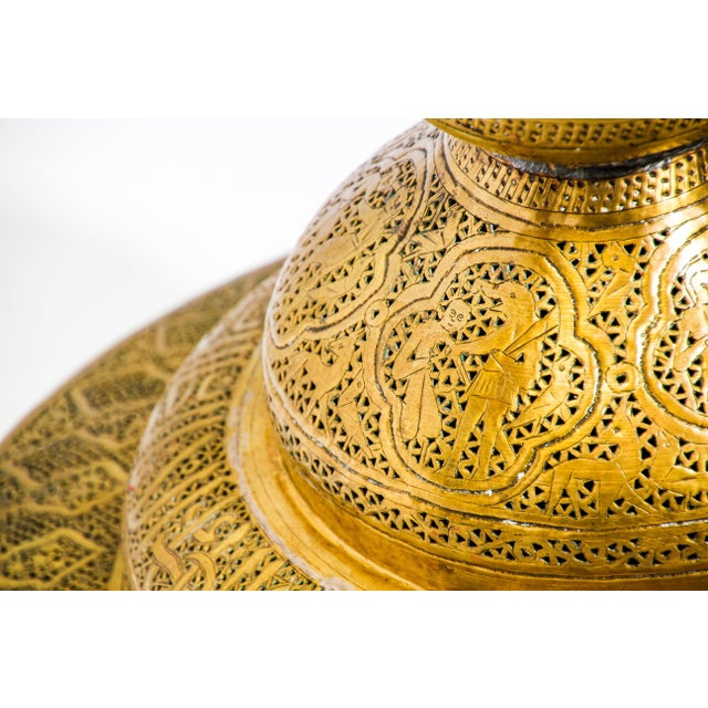 Gold 19th Century Antique Syrian Brass Dining Table Base For Sale - Image 8 of 13
