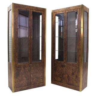 Mid-Century Modern Brass and Burl Wood Vitrine Display Cabinets - a Pair For Sale