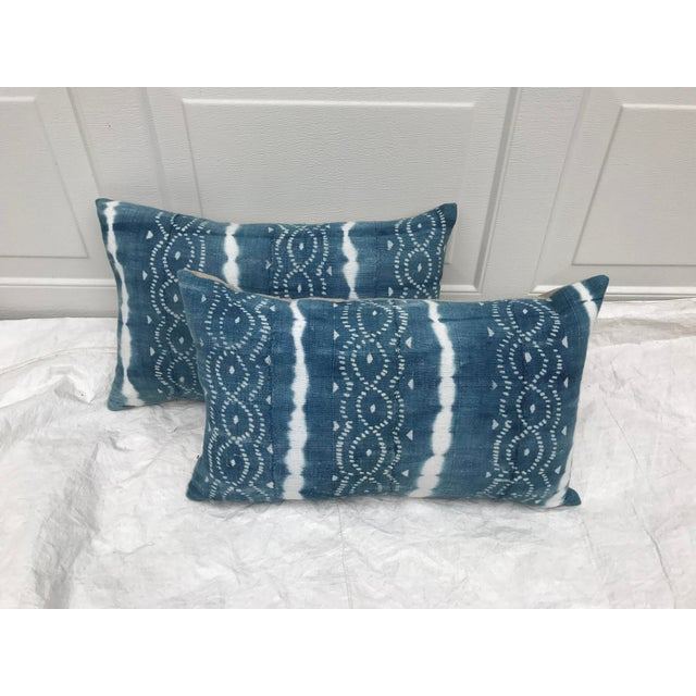 African Indigo Faded Tye-Dye Fringe Pillows - A Pair - Image 4 of 10