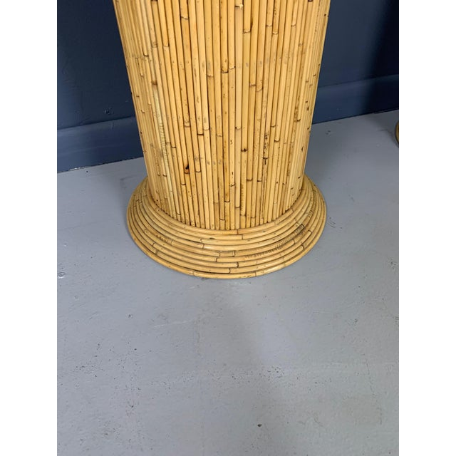 Wood Gabriella Crespi Style Mid-Century Caned Bamboo Console Table For Sale - Image 7 of 8