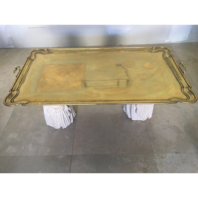 1950s Hollywood Regency Gold Tray Top Coffee Table For Sale - Image 4 of 4