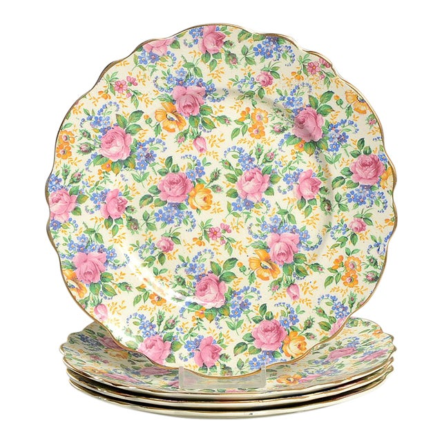 James Kent Rosalynde Chintz Salad Plate - Set of 4 For Sale