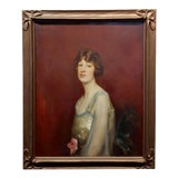 Image of Roland Hinton Perry -Portrait of a Woman in a Stylish Dress -C.1919 Oil Painting For Sale