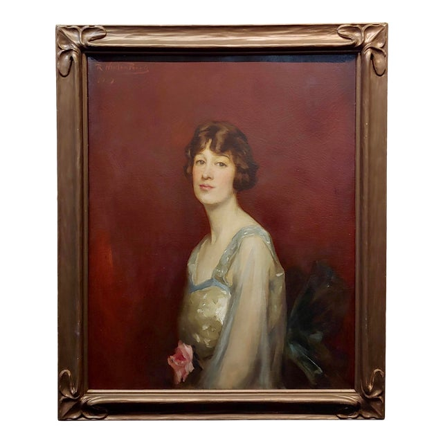 Roland Hinton Perry -Portrait of a Woman in a Stylish Dress -C.1919 Oil Painting For Sale
