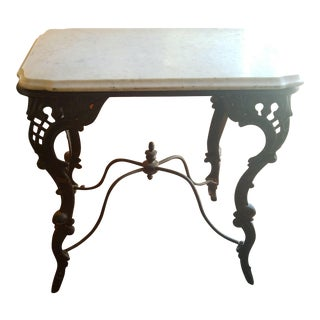 19th C. Victorian Iron & Marble Top Stand For Sale