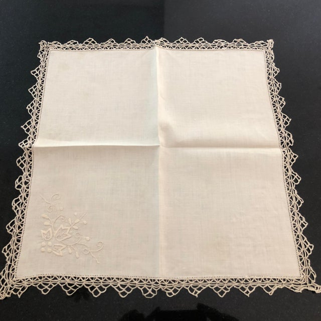 Vintage Italian Linen Napkins Hand-Embroidered Reticella - Set of 12 For Sale - Image 9 of 13