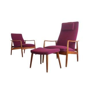 Vintage Mid Century Soren J. Ladefoged Teak Danish Modern Lounge Chairs & Ottoman For Sale