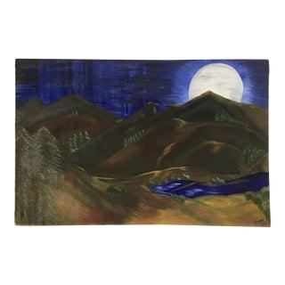 """Large Vintage """"Eagle Peak"""" Oil Painting on Canvas For Sale"""