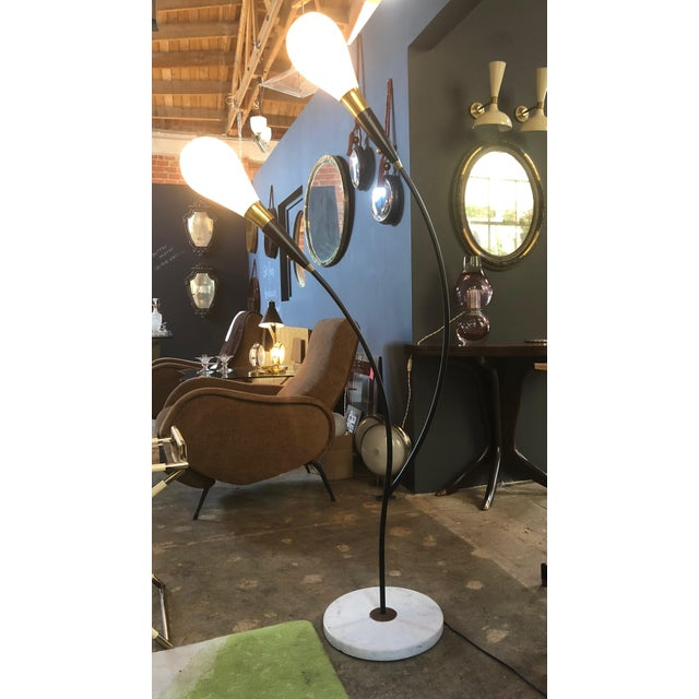 Italian 1970s Mid Century Italian Two-Armed Arc Floor Lamp For Sale - Image 3 of 12
