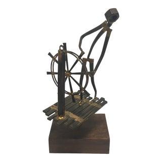 Mid Century Modern Brutalist Mixed Metal Sculpture For Sale