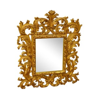 Carvers Guild Rococo Style Gilt Carved Beveled Wall Mirror For Sale