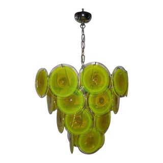Vistosi Murano Glass Chandelier Yellow Green For Sale