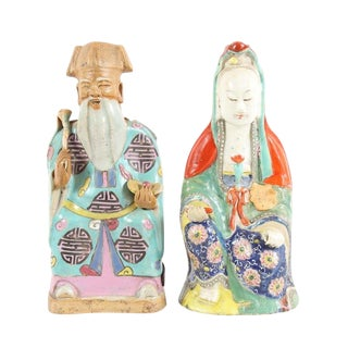 Chinese Hand Painted Ceramic Figurines - a Pair For Sale