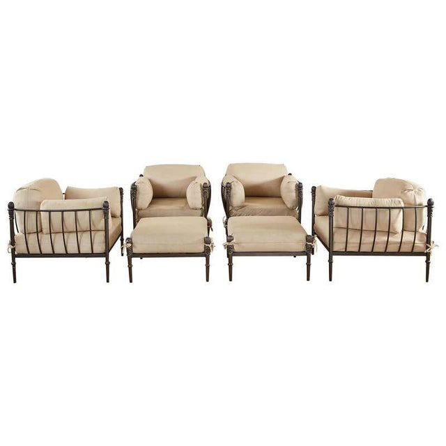 Set of Four Michael Taylor Bronzed Lounge Chairs With Ottomans For Sale - Image 13 of 13