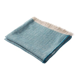 Contemporary Turquoise Linen Throw