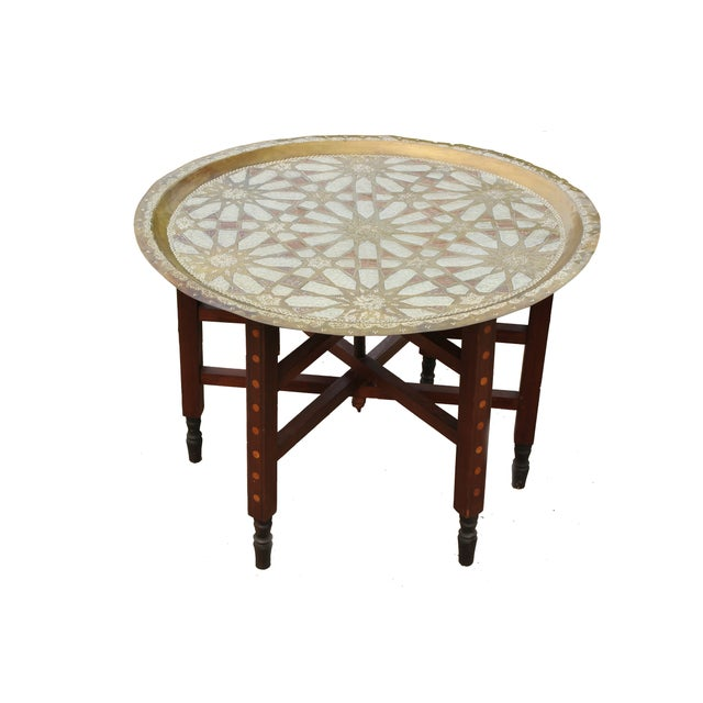Moroccan Brass Tray Table with Geometric Motif - Image 2 of 8