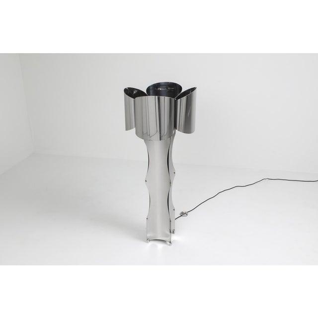 Metal Post-Modern Chromed Steel Floor Lamp by Maison Charles - 1970s For Sale - Image 7 of 10