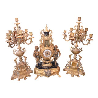 Imperial Brevettato Brass and Marble Franz Hermle Mantle Clock and Candelabra Set For Sale
